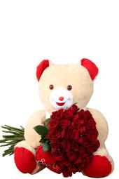 Ayıcık ve kucağında 41 kırmızı gül ile sevdiğine kalbinizden geçenlere tercüman bir hediye gönderebilirsiniz. Not: Ayıcık rengi ve cinsi stok durumuna göre değişmektedir. Yaklaşık Ürün Boyutu : 50 cm