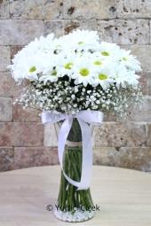 Vazoda Beyaz Papatyalar   Onu sevdiğinizi bembeyaz papatyalar ile gösterin. Cam vazoda cipsolarla hazırlanmış beyaz biçme papatyalar ona sevgi sözcüklerini söyleyecek.
