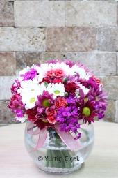 Cam Fanusta Rengarenk Kır Çiçekleri İle Sevdiklerinize En Güzel Sürprizi Yapma Fırsatını Kaçırmayın. Yaklaşık Ürün Boyutu : 30 cm