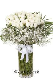Sevdiklerinize göndereceğiniz vazo içinde 41 beyaz gül sevginizin en sade sunumu olacak. Yaklaşık Ürün Boyutu : 50 cm