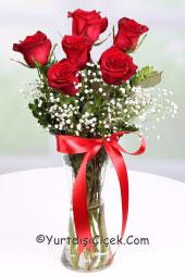 Cam vazoda 6 adet kırmızı gül ile sevdiklerinizi her an mutlu etme fırsatı uluslararası çiçek gönderim garantisiyle hizmetinizde.