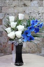 Sevginizin En Özel Sunumunu Mavi Orkide ve Beyaz Güller ile Yapabilirsiniz. Yaklaşık Ürün Boyutu : 60 cm
