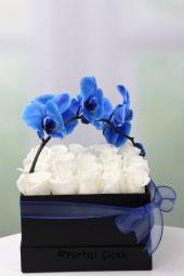 Siyah Kutuda Beyaz Güller ve Mavi Orkide ile Hazırlanan Tasarım Özel Bir Sürpriz İçin Aradığınız Ürün.
