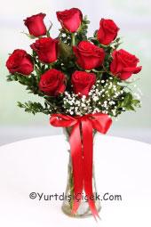 Kırmızı Gül : 9 Adet   Nasıl çiçek gönderirim sorusunun cevabı artık çok kolay. Vazoda 9 kırmızı gül onun için hoş ve anlamlı bir hediye olacak.